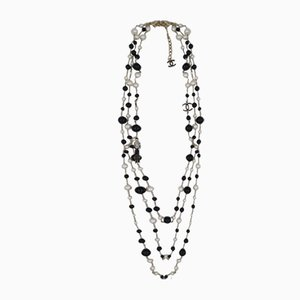 100th Anniversary 3 Strand Pearl Necklace with Enamel Coco Figure from Chanel