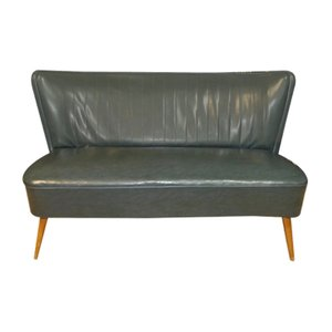 Petrol Skai Leather Cocktail Couch, 1950s