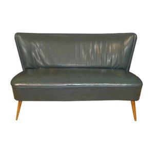 Petrol Skai Leder Couch, 1950er