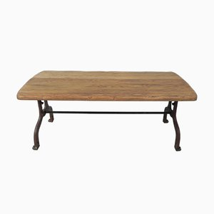 Industrial Dining Table with Oak Top
