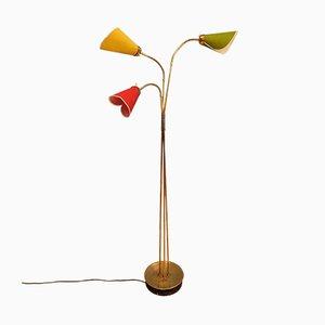 Lámpara de pie Mid-Century moderna de latón con brazo flexible, años 50
