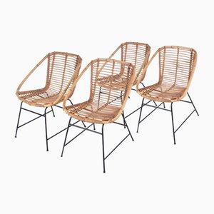 Vintage Bamboo Chairs in the Style of Dirk van Sliedrecht, 1960s, Set of 4