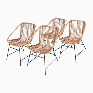 Vintage Bamboo Design Chairs in the Style of Dirk van Sliedrecht, 1960s, Set of 4