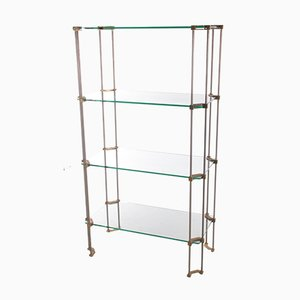 T38 Wall Unit or Bookshelf in Glass with Brass by Peter Ghyczy, 1960s