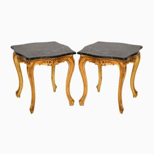 Antique French Giltwood Side Tables with Marble Tops, Set of 2