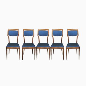 Mid-Century Blue & Wood Chairs by Vittorio Dassi, 1950s, Set of 5