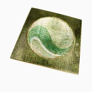 Grünes glasiertes Tablett aus Kupfer von Studio Del Campo, Italien, 1970er