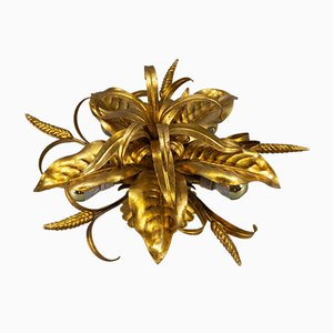 Hollywood Regency Style Flower-Shaped Flush Mount with Wheat Ears