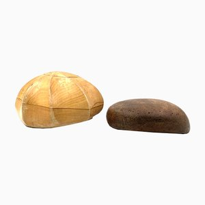 Italian Wooden Hat Molds, Milan, Early 20th Century, Set of 2