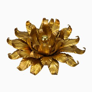 Gilt Metal Flower-Shaped Flush Mount or Wall Light