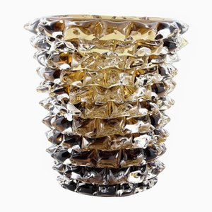 Large Rostrati Series Vase in Smoked Glass with Decoration by Ercole Barovier