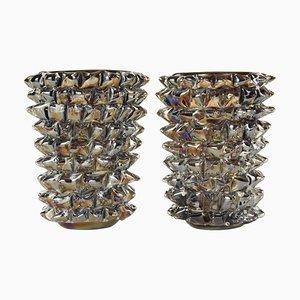 Rostrati Vasen aus Tabakglas mit Dekoration von Ercole Barovier, 2er Set
