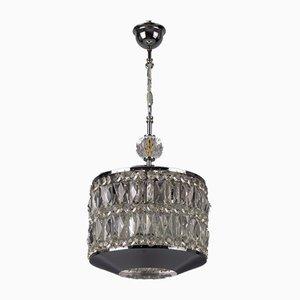 Mid-Century Modern Crystal Glass and Chrome Pendant Lamp