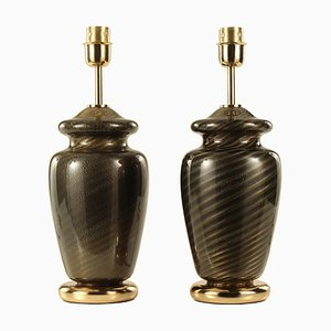 Black-Blown Murano Glass Lamps with Spiral Decoration, Italy, 1970, Set of 2