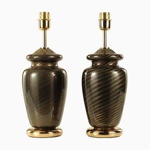 Schwarz geblasene Murano Glas Lampen mit Spiral Dekoration, Italien, 1970, 2er Set