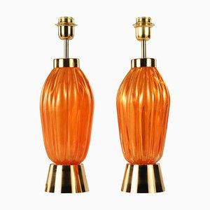 Lampade da tavolo vintage in vetro di Murano arancione e dorato di Seguso, set di 2
