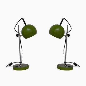 Space Age Green Adjustable Bedside Table Lamps with Spheres from Gura, 1970s, Set of 2
