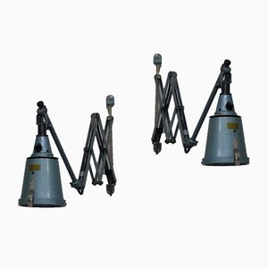 Industrial Scissor Lights from Curt Fischer Midgard / Industriewerke Auma, 1930s, Set of 2
