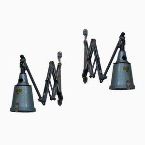 Lámparas de acordeón industriales de Curt Fischer Midgard / Industriewerke Auma, años 30. Juego de 2