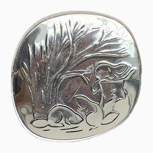 Cuenco canadiense vintage de metal con decoración de castor de Hoselton
