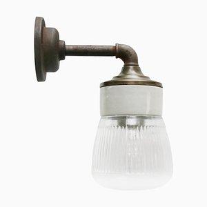 Lampada da parete vintage in vetro a strisce e ottone con braccio in ghisa