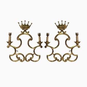 Apliques de latón con coronas de Valenti, años 60. Juego de 2