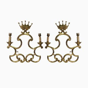 Brass Sconces with Crowns from Valenti, 1960s, Set of 2