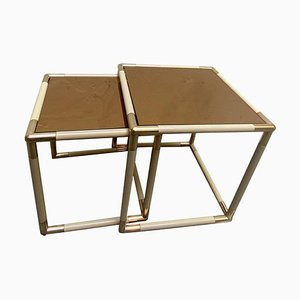 Brass and Golden Mirror Top Coffee Tables by Tommaso Barbi, Italy, 1970s, Set of 2
