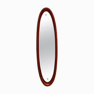 Specchio da parete con cornice ovale in teak, Italia, anni '60