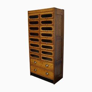 Mueble de mercería británico de roble, años 30