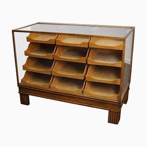 British Oak Haberdashery Cabinet or Shop Counter, 1930s