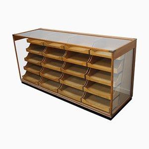 Mueble de mercería o mostrador británico de arce, años 30
