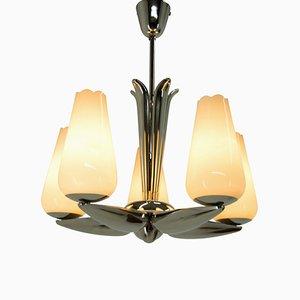 Lámpara de araña niquelada de Drukov, años 40