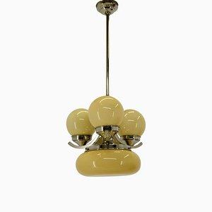 Lámpara de araña Art Déco con cuatro llamas, años 30