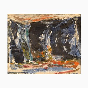 Knut Yngve Dahlbäck, óleo sobre lienzo, composición abstracta, Suecia