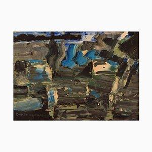 Rolf Erling Nygren (1925-2010, Svezia), Olio su tavola, Composizione astratta