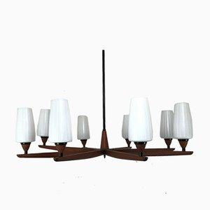 Lámpara de araña de teca de Uno & Osten Kristiansson para Luxus, años 70
