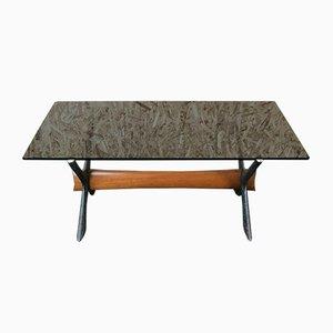 Mesa de centro de teca con plato de vidrio, años 70