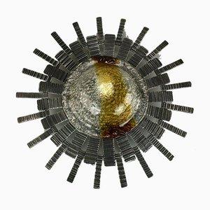 Lámpara de pared brutalista de hierro y vidrio, años 70