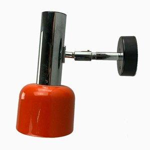 Orangefarbene Metall Wandlampe von Staff, 1960er