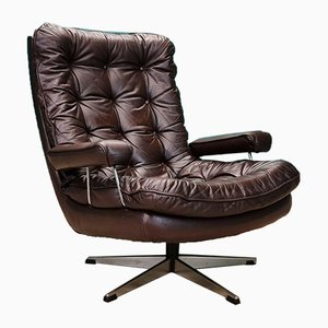 Mid-Century Danish Brown Leather Buttoned Swivel Lounge Chair, 1970s