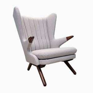 Mid-Century Danish Grey Wool Model 91 Papa Bear Lounge Chair by Svend Skipper