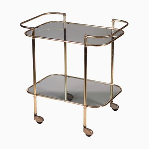 Brass and Smoked Glass Serving Trolley, 1960s