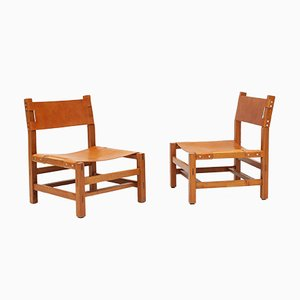 Fireside Lounge Chairs in Solid Elm from Maison Regain, 1970s, France, Set of 2
