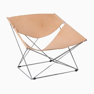 F675 Butterfly Chair in Nude Leather by Pierre Paulin for Artifort
