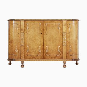 Mid 20th Century Swedish Birch Chippendale Revival Bowfront Sideboard