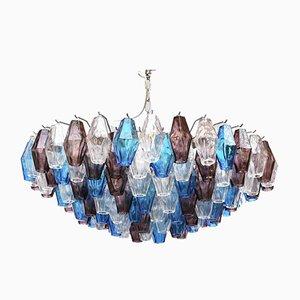 Vintage Aquamarinblauer Kristallglas Kronleuchter