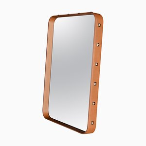 Small Jacques Adnet Rectangulaire Wall Mirror in Tan Leather from Gubi
