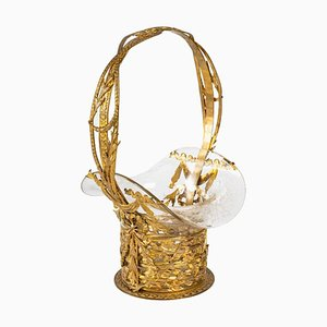 Korb aus vergoldeter Bronze & Kristallglas, 19. Jh