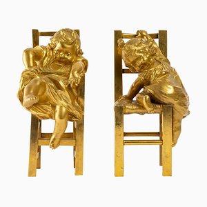 Skulpturen aus vergoldeter Bronze, 19. Jh., 2er Set